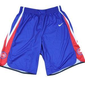 Nike Mens XLT Detroit Pistons Pro Cut Shorts Blue